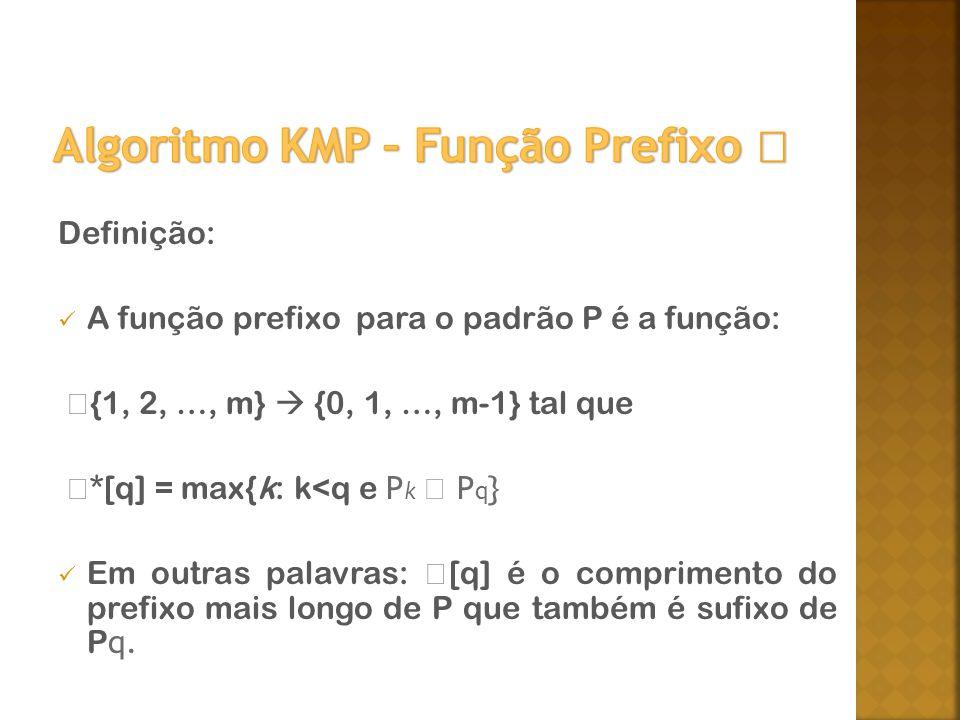 Definição: A função prefixo para o padrão P é a função: {1, 2, …, m} {0, 1, …, m-1} tal que *[q] = max{k: k<q e P k P q } Em outras palavras: [q] é o comprimento do prefixo mais longo de P que também é sufixo de P q.
