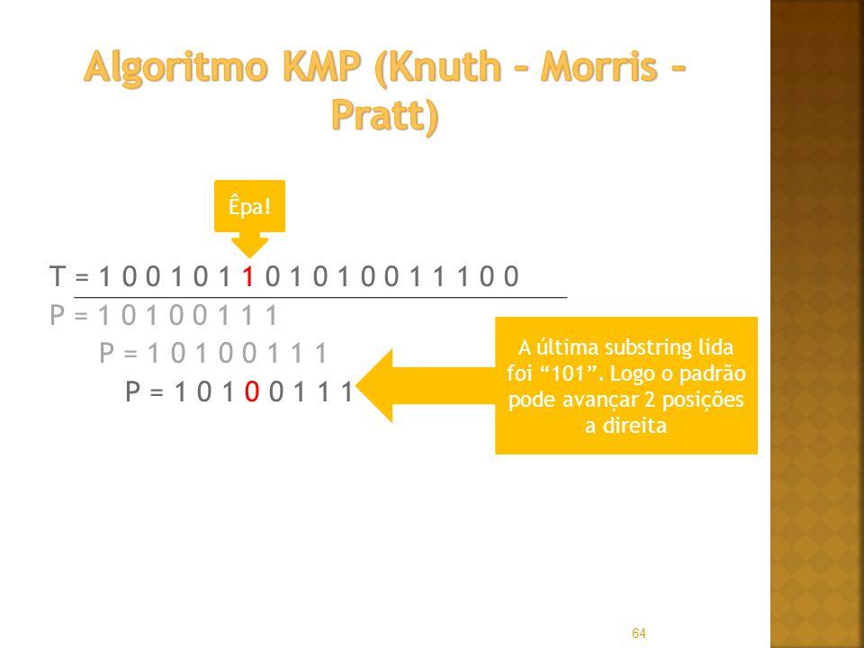 T = 1 0 0 1 0 1 1 0 1 0 1 0 0 1 1 1 0 0 P = 1 0 1 0 0 1 1 1 64 Êpa! A última substring lida foi 101. Logo o padrão pode avançar 2 posições a direita