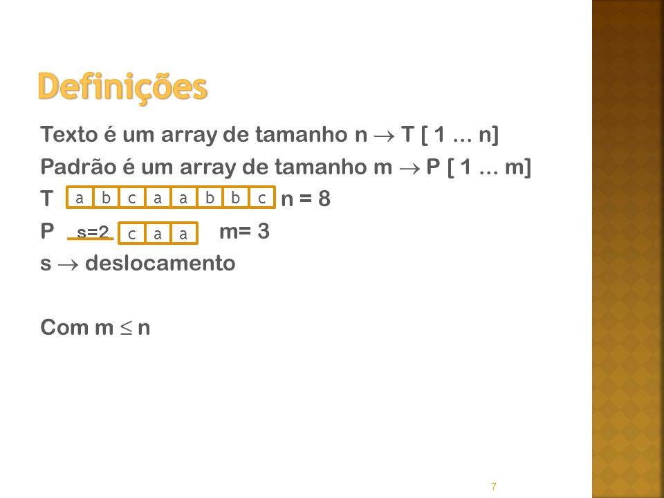 Texto é um array de tamanho n T [ 1... n] Padrão é um array de tamanho m P [ 1... m] T n = 8 P s=2 m= 3 s deslocamento Com m n 7 abbaacbc caa