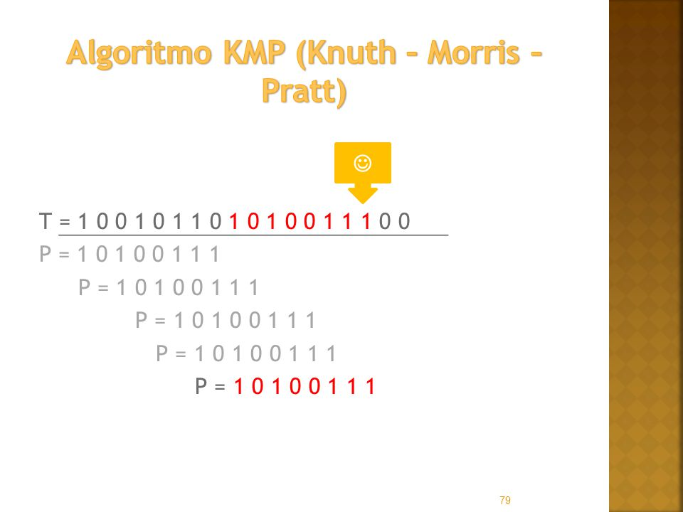 T = 1 0 0 1 0 1 1 0 1 0 1 0 0 1 1 1 0 0 P = 1 0 1 0 0 1 1 1 79