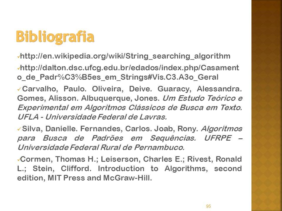 http://en.wikipedia.org/wiki/String_searching_algorithm http://dalton.dsc.ufcg.edu.br/edados/index.php/Casament o_de_Padr%C3%B5es_em_Strings#Vis.C3.A3