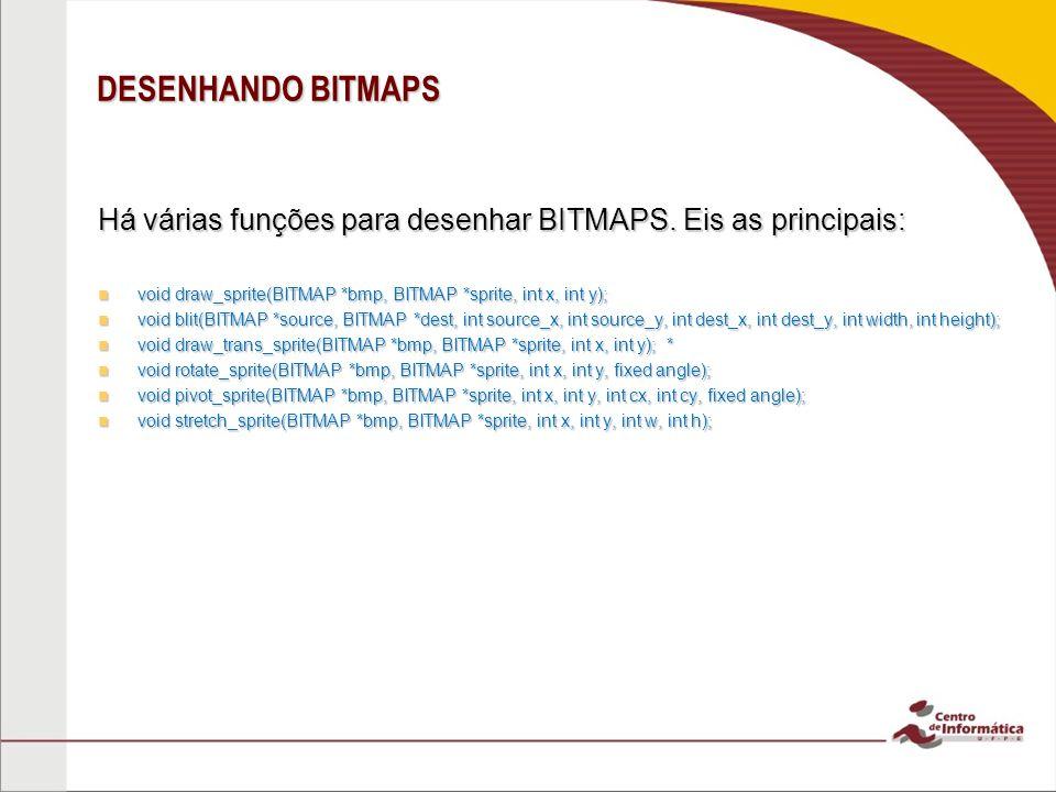 DESENHANDO BITMAPS Há várias funções para desenhar BITMAPS. Eis as principais: void draw_sprite(BITMAP *bmp, BITMAP *sprite, int x, int y); void draw_