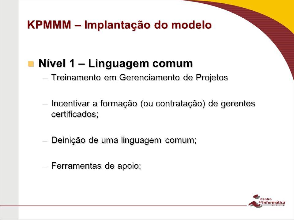KPMMM – Implantação do modelo Nível 1 – Linguagem comum Nível 1 – Linguagem comum –Treinamento em Gerenciamento de Projetos –Incentivar a formação (ou contratação) de gerentes certificados; –Deinição de uma linguagem comum; –Ferramentas de apoio;