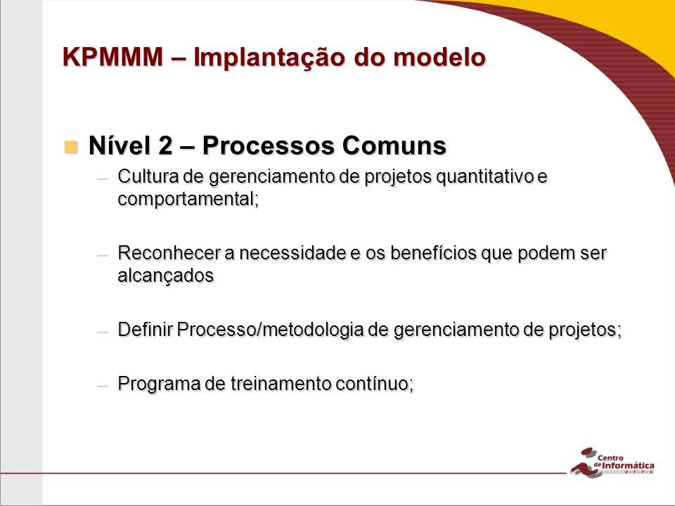 KPMMM – Implantação do modelo Nível 2 – Processos Comuns Nível 2 – Processos Comuns –Cultura de gerenciamento de projetos quantitativo e comportamental; –Reconhecer a necessidade e os benefícios que podem ser alcançados –Definir Processo/metodologia de gerenciamento de projetos; –Programa de treinamento contínuo;