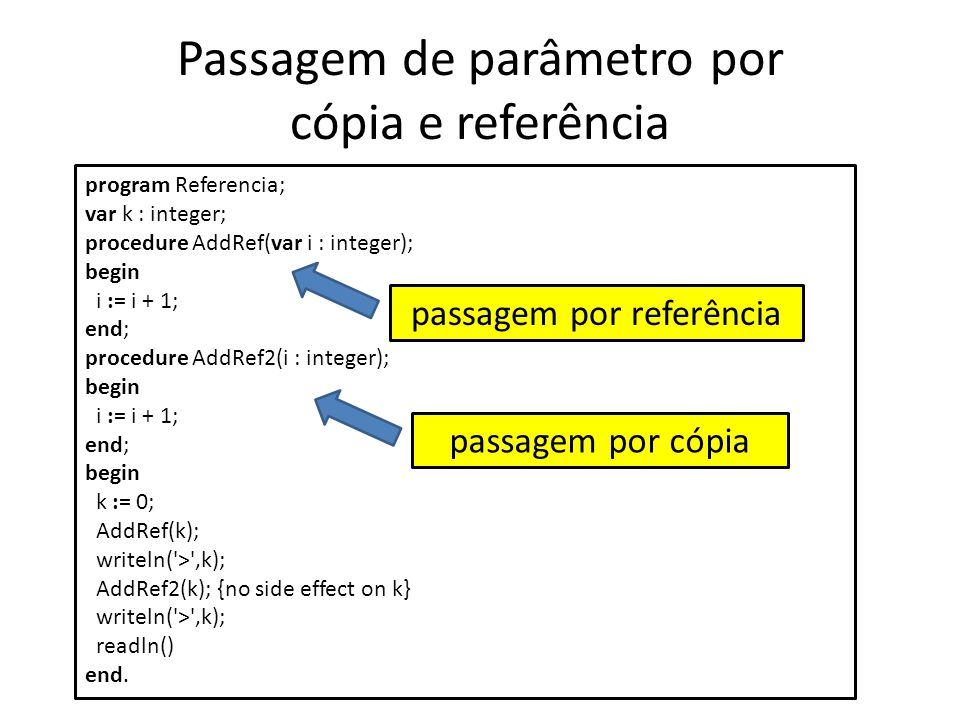 Passagem de parâmetro por cópia e referência program Referencia; var k : integer; procedure AddRef(var i : integer); begin i := i + 1; end; procedure AddRef2(i : integer); begin i := i + 1; end; begin k := 0; AddRef(k); writeln( > ,k); AddRef2(k); {no side effect on k} writeln( > ,k); readln() end.
