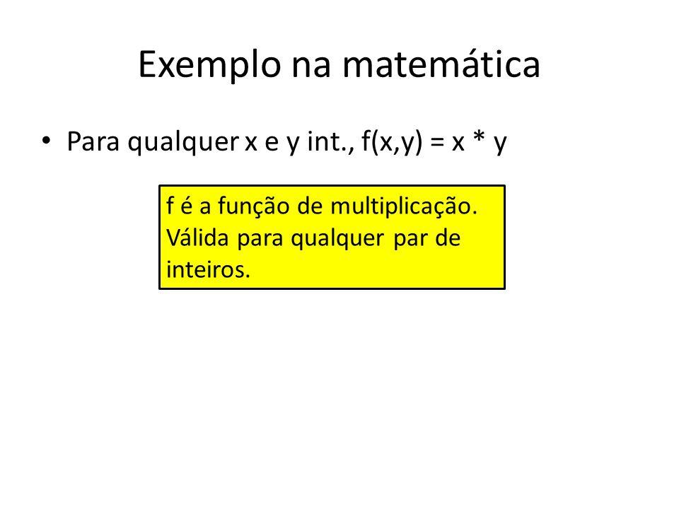 Exemplo na matemática Para qualquer x e y int., f(x,y) = x * y program Main; type...{declarações de tipo} var a,b: int; {declarações de variáveis} function mult(x,y: integer): integer; begin mult := x * y; end; Begin readln(a, b); println(o resultado da multiplicacao eh:, mult(a,b)); end.