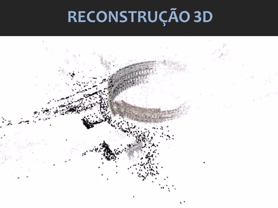 POLLEFEYS Projective Reconstruction Self-Calibration Dense Matching 3D Model Building Suavização do mapa de profundidade Triagularização da superfície (uso de Convex Hull e densidade de pontos) Aplicação de textura sobre a superfície Uso de centróide e média entre os pixels