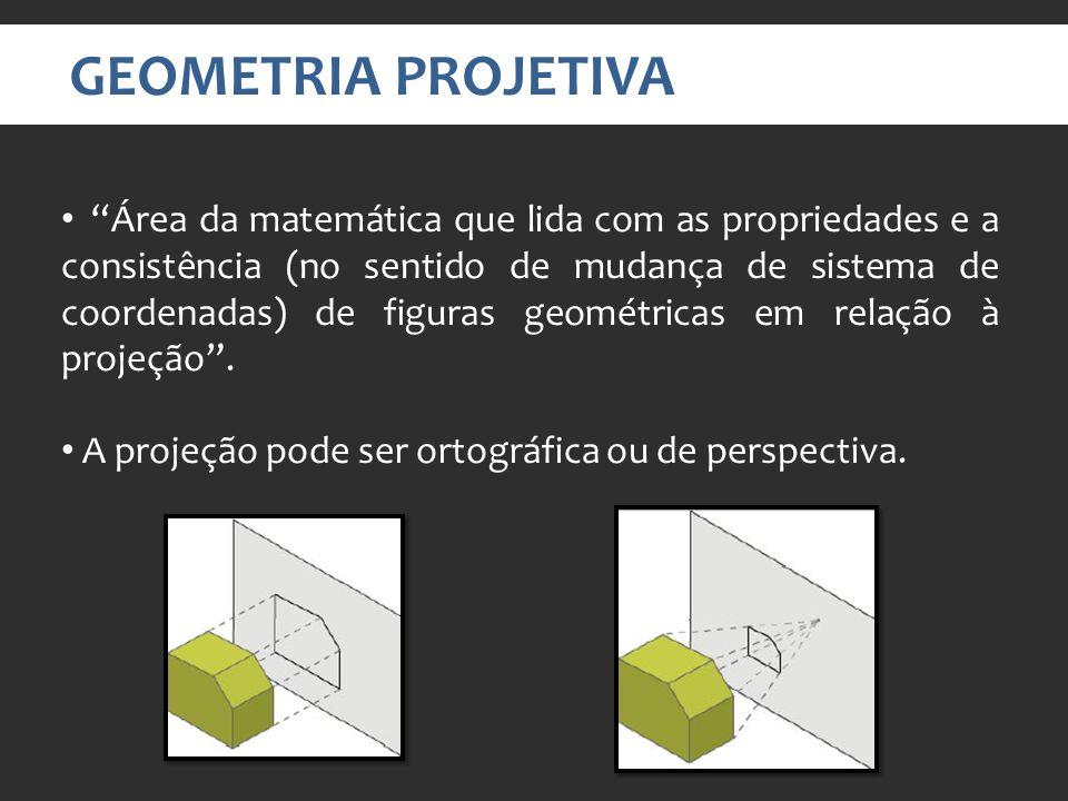GEOMETRIA PROJETIVA Área da matemática que lida com as propriedades e a consistência (no sentido de mudança de sistema de coordenadas) de figuras geométricas em relação à projeção.