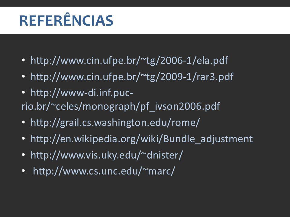 REFERÊNCIAS http://www.cin.ufpe.br/~tg/2006-1/ela.pdf http://www.cin.ufpe.br/~tg/2009-1/rar3.pdf http://www-di.inf.puc- rio.br/~celes/monograph/pf_ivson2006.pdf http://grail.cs.washington.edu/rome/ http://en.wikipedia.org/wiki/Bundle_adjustment http://www.vis.uky.edu/~dnister/ http://www.cs.unc.edu/~marc/