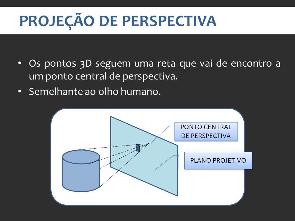 PROJEÇÃO DE PERSPECTIVA Os pontos 3D seguem uma reta que vai de encontro a um ponto central de perspectiva.