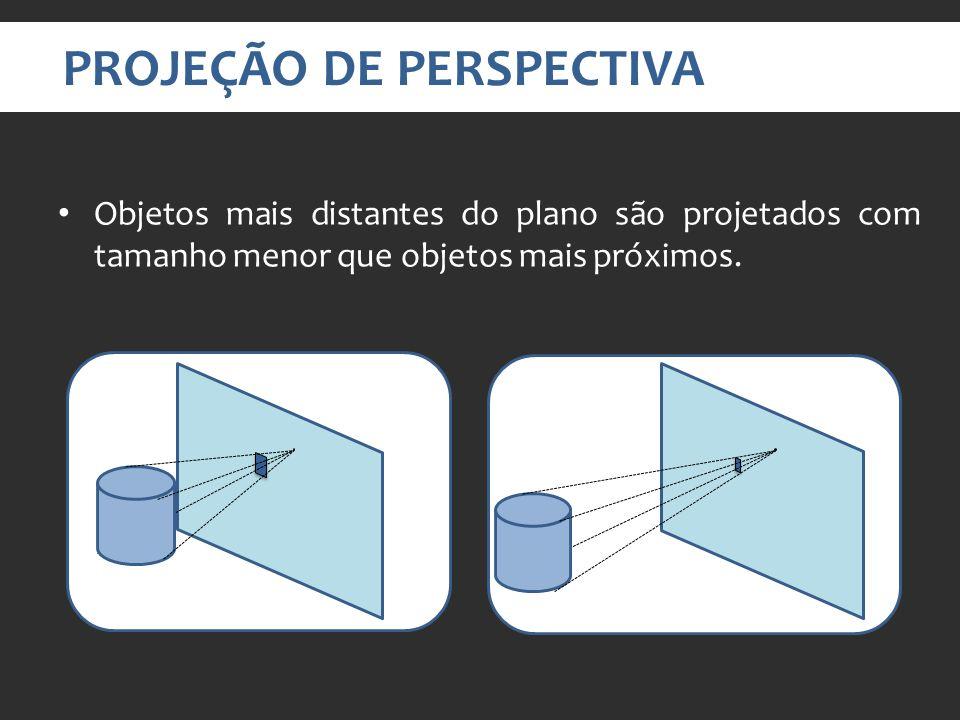 PROJEÇÃO DE PERSPECTIVA Objetos mais distantes do plano são projetados com tamanho menor que objetos mais próximos.