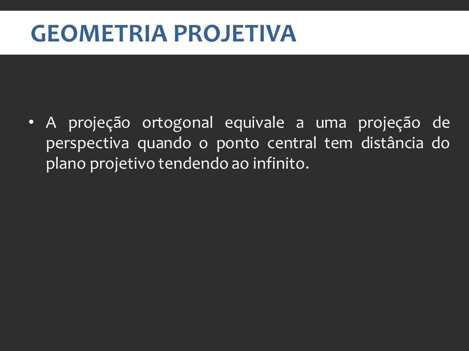 GEOMETRIA PROJETIVA A projeção ortogonal equivale a uma projeção de perspectiva quando o ponto central tem distância do plano projetivo tendendo ao infinito.