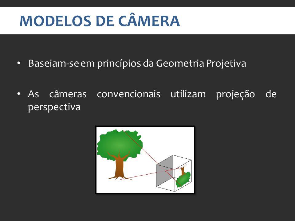 MODELOS DE CÂMERA Baseiam-se em princípios da Geometria Projetiva As câmeras convencionais utilizam projeção de perspectiva