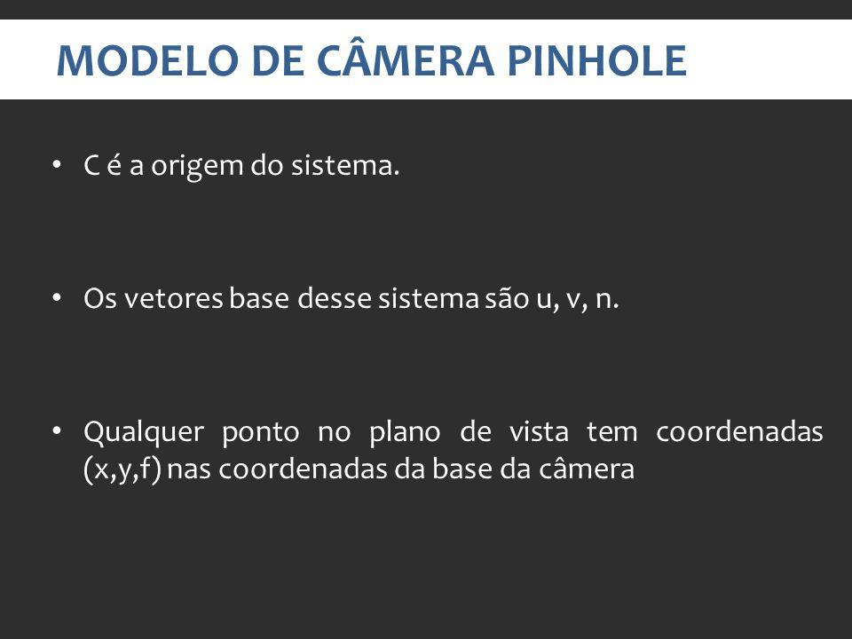 MODELO DE CÂMERA PINHOLE C é a origem do sistema.Os vetores base desse sistema são u, v, n.
