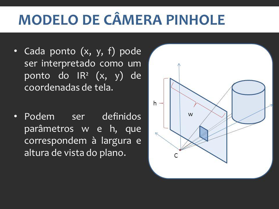 MODELO DE CÂMERA PINHOLE Cada ponto (x, y, f) pode ser interpretado como um ponto do IR² (x, y) de coordenadas de tela.