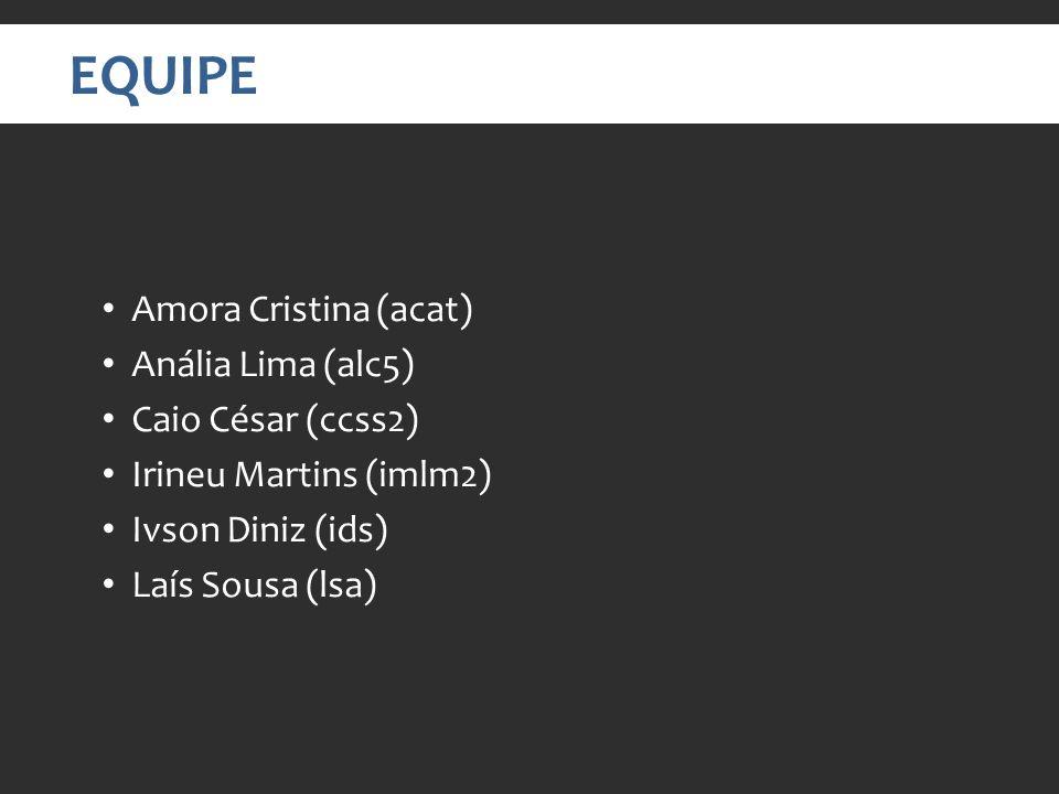EQUIPE Amora Cristina (acat) Anália Lima (alc5) Caio César (ccss2) Irineu Martins (imlm2) Ivson Diniz (ids) Laís Sousa (lsa)