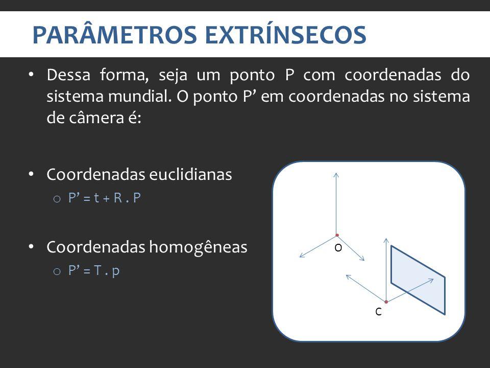 PARÂMETROS EXTRÍNSECOS Dessa forma, seja um ponto P com coordenadas do sistema mundial.