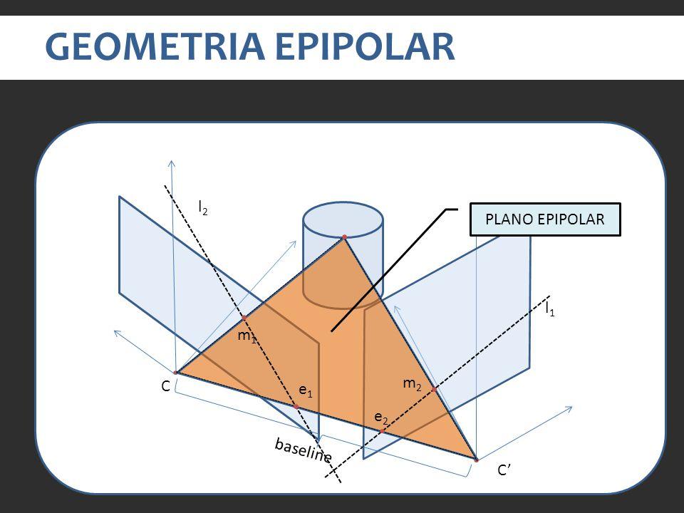 GEOMETRIA EPIPOLAR C C e1e1 e2e2 baseline l1l1 l2l2 m1m1 m2m2 PLANO EPIPOLAR