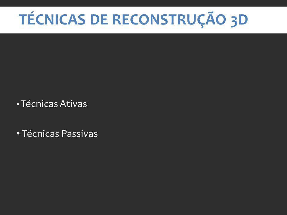 TÉCNICAS DE RECONSTRUÇÃO 3D Técnicas Ativas Técnicas Ativas Técnicas Passivas Técnicas Passivas