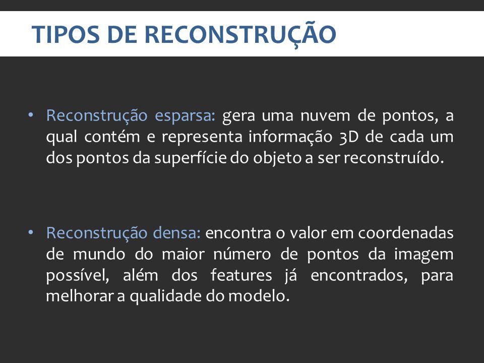 TIPOS DE RECONSTRUÇÃO Reconstrução esparsa: gera uma nuvem de pontos, a qual contém e representa informação 3D de cada um dos pontos da superfície do objeto a ser reconstruído.