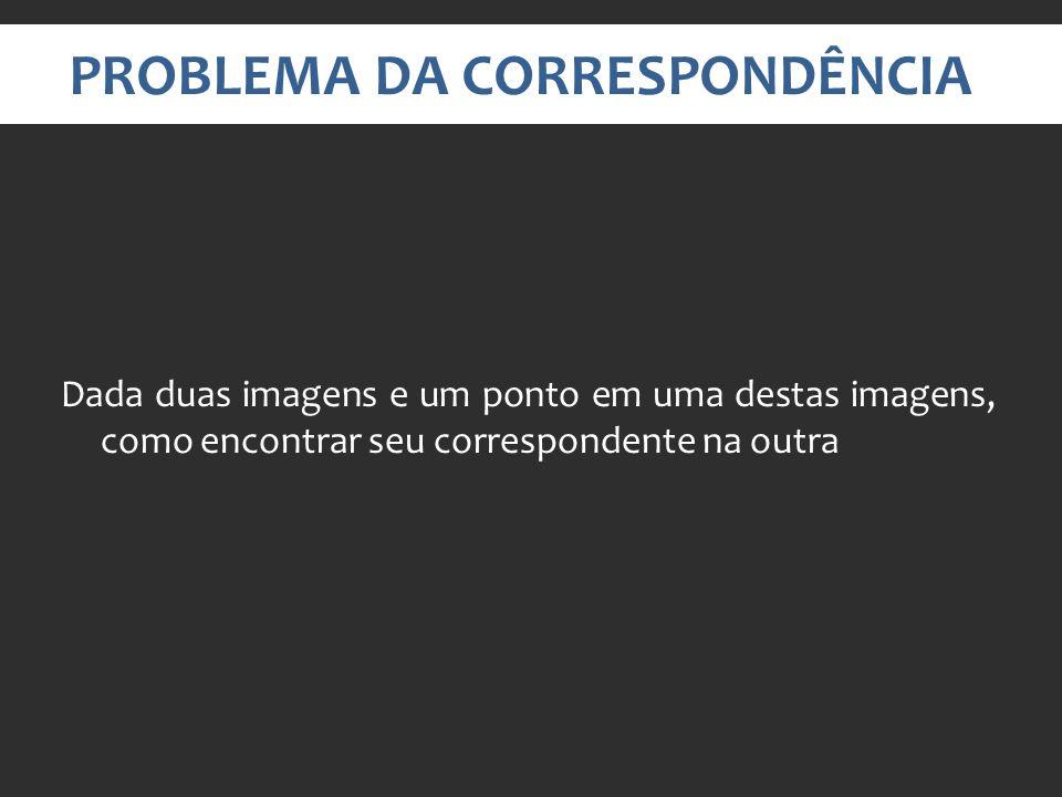 PROBLEMA DA CORRESPONDÊNCIA Dada duas imagens e um ponto em uma destas imagens, como encontrar seu correspondente na outra