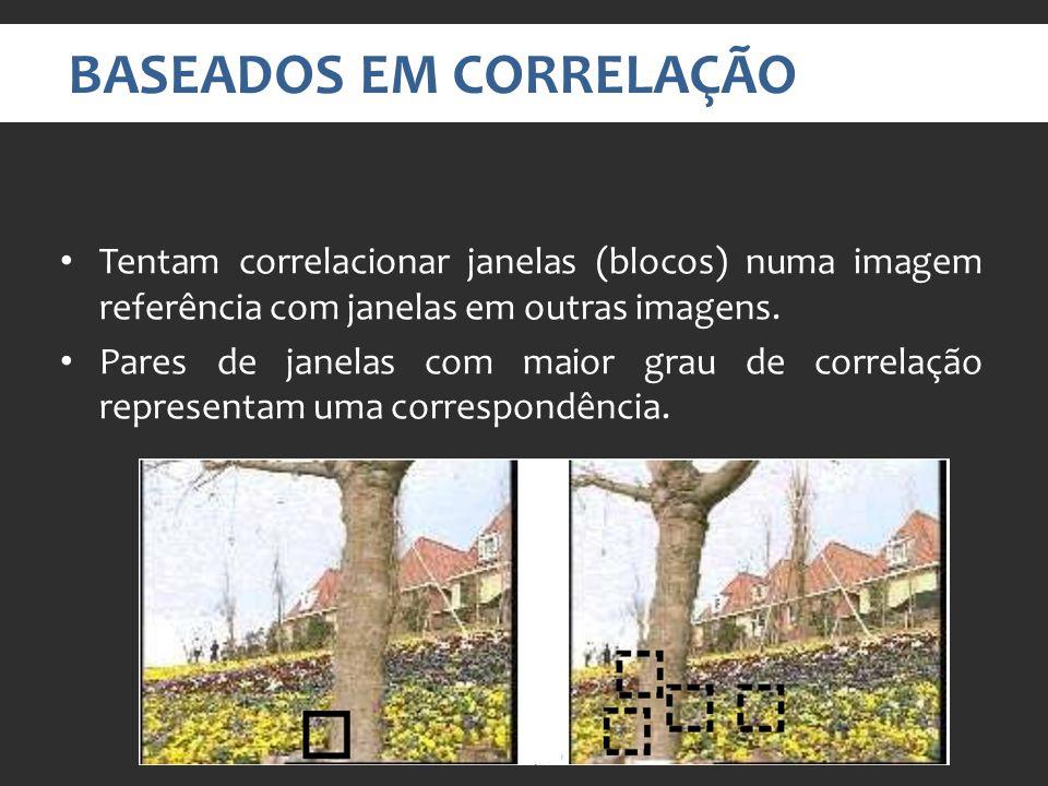 BASEADOS EM CORRELAÇÃO Tentam correlacionar janelas (blocos) numa imagem referência com janelas em outras imagens.