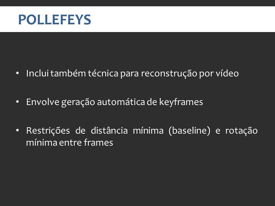 POLLEFEYS Inclui também técnica para reconstrução por vídeo Envolve geração automática de keyframes Restrições de distância mínima (baseline) e rotação mínima entre frames