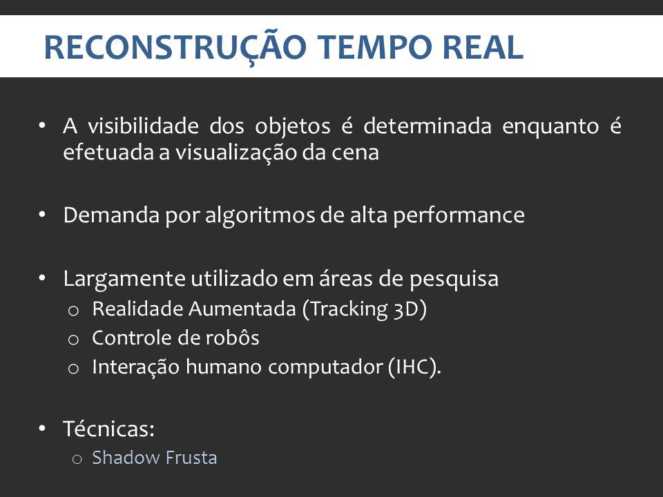 RECONSTRUÇÃO TEMPO REAL A visibilidade dos objetos é determinada enquanto é efetuada a visualização da cena Demanda por algoritmos de alta performance Largamente utilizado em áreas de pesquisa o Realidade Aumentada (Tracking 3D) o Controle de robôs o Interação humano computador (IHC).