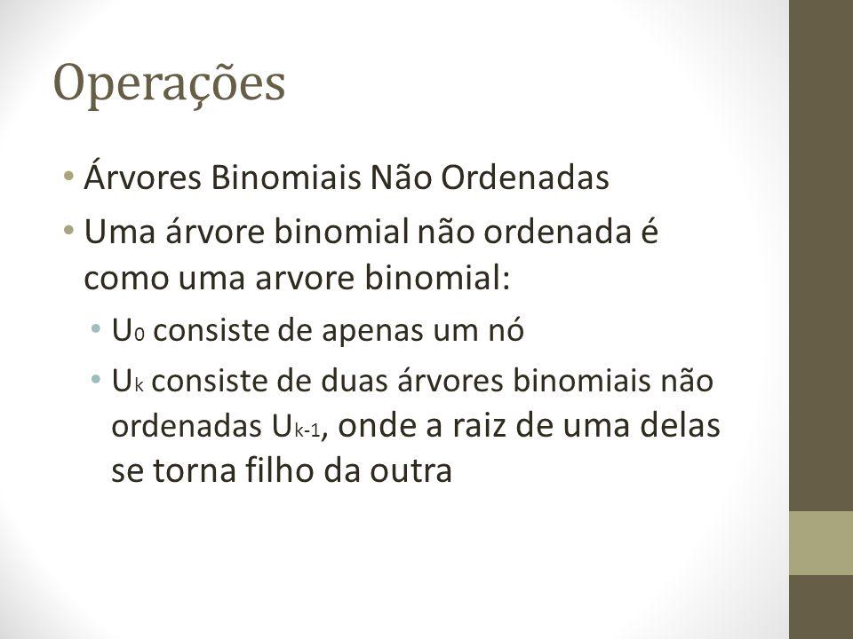 Operações Árvores Binomiais Não Ordenadas Uma árvore binomial não ordenada é como uma arvore binomial: U 0 consiste de apenas um nó U k consiste de du
