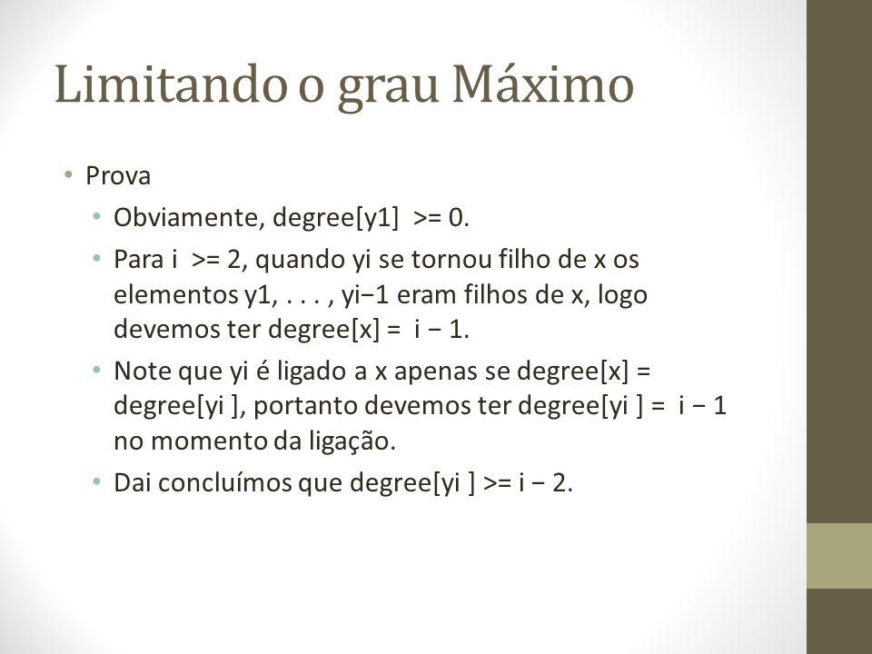 Limitando o grau Máximo Prova Obviamente, degree[y1] >= 0. Para i >= 2, quando yi se tornou filho de x os elementos y1,..., yi1 eram filhos de x, logo