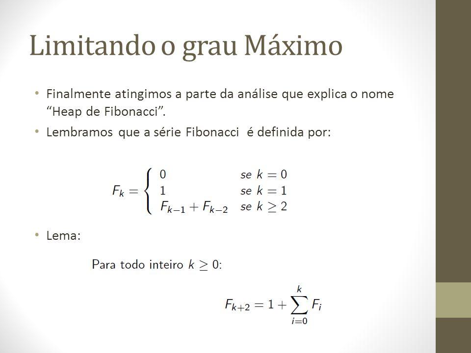 Limitando o grau Máximo Finalmente atingimos a parte da análise que explica o nome Heap de Fibonacci. Lembramos que a série Fibonacci é definida por: