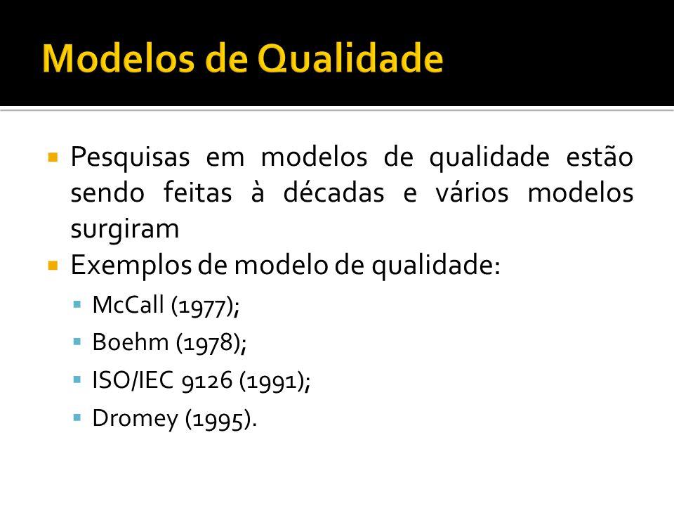 Pesquisas em modelos de qualidade estão sendo feitas à décadas e vários modelos surgiram Exemplos de modelo de qualidade: McCall (1977); Boehm (1978); ISO/IEC 9126 (1991); Dromey (1995).