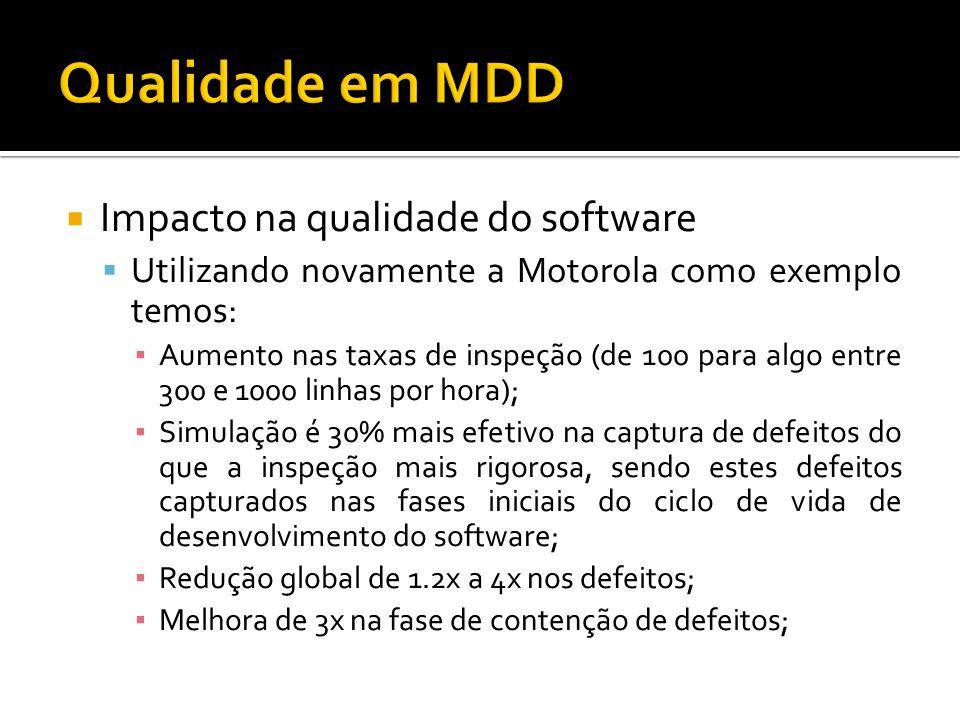 Impacto na qualidade do software Utilizando novamente a Motorola como exemplo temos: Aumento nas taxas de inspeção (de 100 para algo entre 300 e 1000 linhas por hora); Simulação é 30% mais efetivo na captura de defeitos do que a inspeção mais rigorosa, sendo estes defeitos capturados nas fases iniciais do ciclo de vida de desenvolvimento do software; Redução global de 1.2x a 4x nos defeitos; Melhora de 3x na fase de contenção de defeitos;