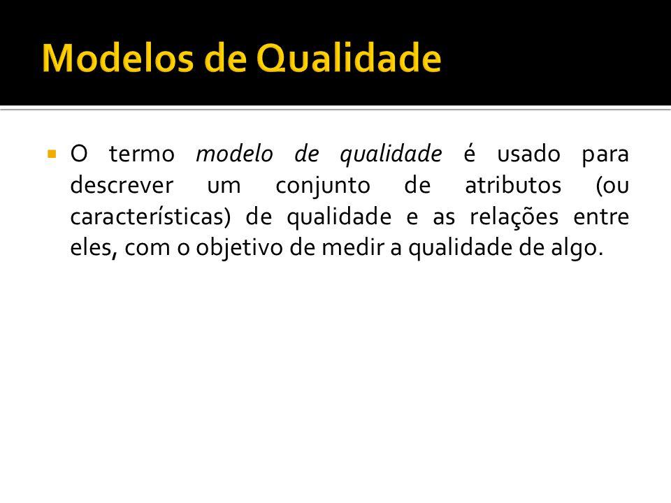 Um modelo de qualidade deve estar apto a suportar tanto a definição dos requisitos de qualidade quanto a medição subsequente dos mesmos.