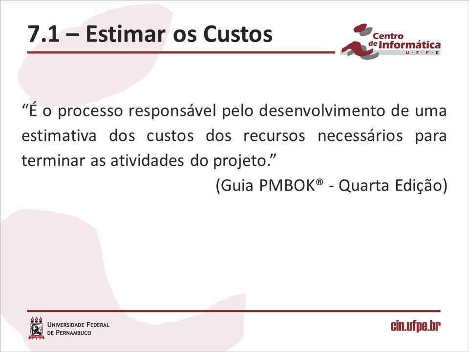 7.1 – Estimar os Custos É o processo responsável pelo desenvolvimento de uma estimativa dos custos dos recursos necessários para terminar as atividade