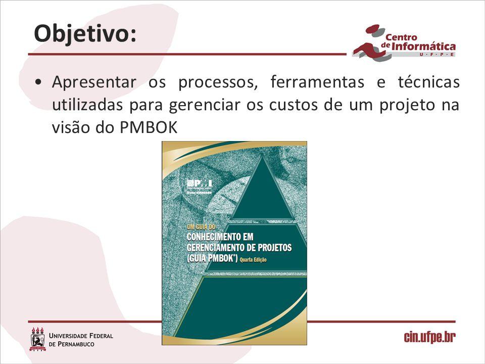 Objetivo: Apresentar os processos, ferramentas e técnicas utilizadas para gerenciar os custos de um projeto na visão do PMBOK