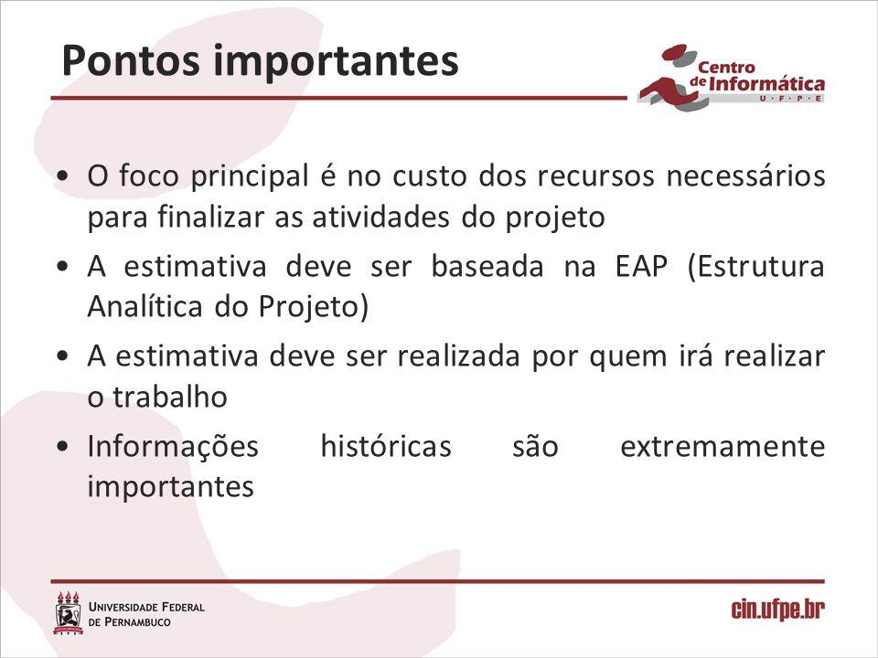 Pontos importantes O foco principal é no custo dos recursos necessários para finalizar as atividades do projeto A estimativa deve ser baseada na EAP (