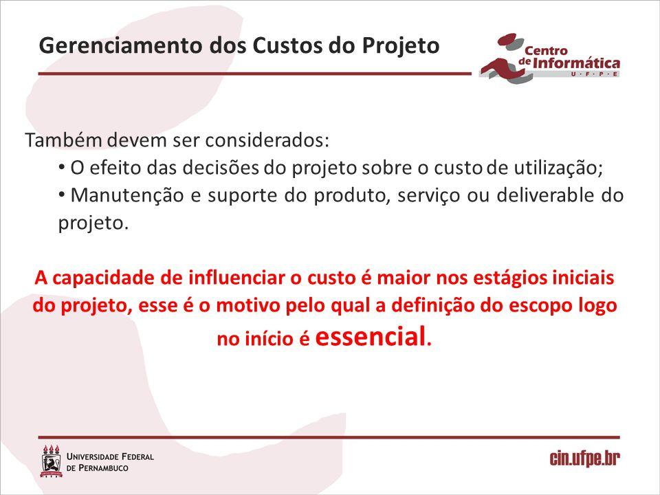 Gerenciamento dos Custos do Projeto Também devem ser considerados: O efeito das decisões do projeto sobre o custo de utilização; Manutenção e suporte