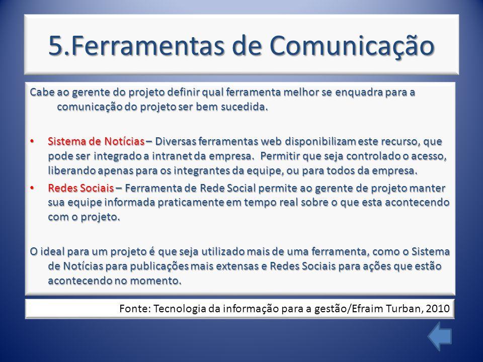 5.Ferramentas de Comunicação Cabe ao gerente do projeto definir qual ferramenta melhor se enquadra para a comunicação do projeto ser bem sucedida.