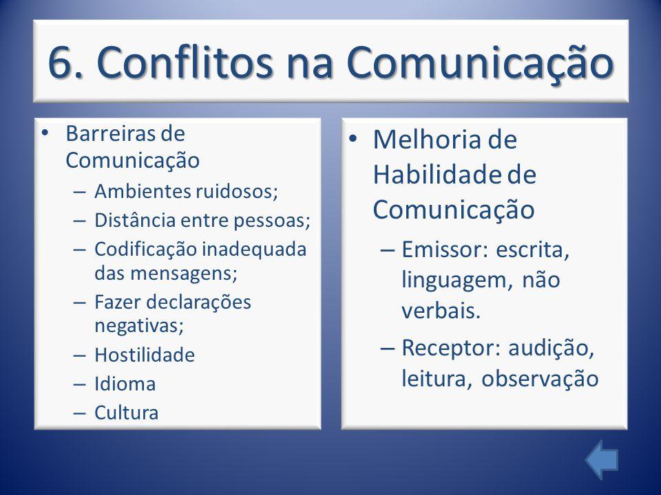 6. Conflitos na Comunicação Barreiras de Comunicação – Ambientes ruidosos; – Distância entre pessoas; – Codificação inadequada das mensagens; – Fazer