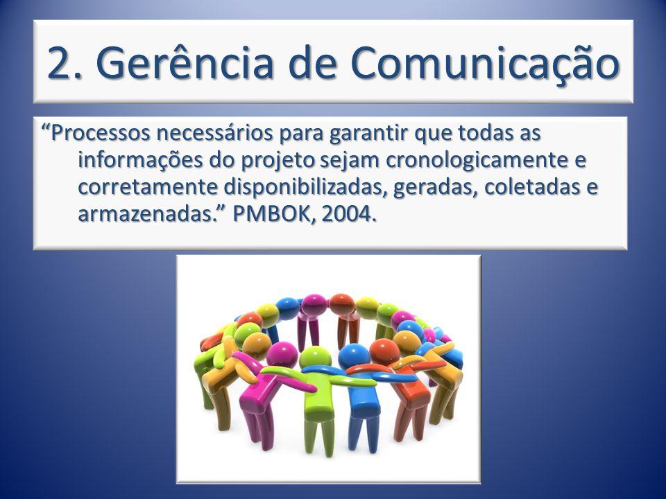 2. Gerência de Comunicação Processos necessários para garantir que todas as informações do projeto sejam cronologicamente e corretamente disponibiliza