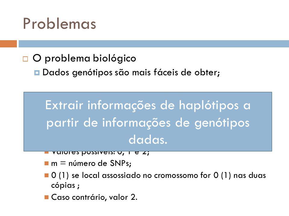 Problemas O problema biológico Dados genótipos são mais fáceis de obter; Dados haplótipos são mais importantes; Conjunto de dados: n vetores genótipos