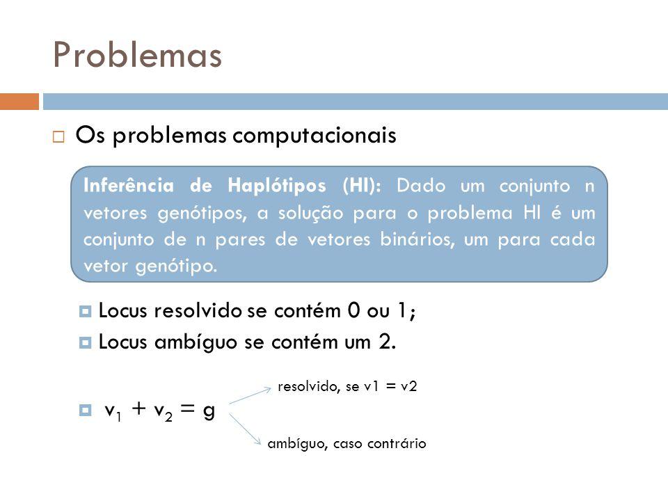 Problemas Os problemas computacionais Locus resolvido se contém 0 ou 1; Locus ambíguo se contém um 2. v 1 + v 2 = g Inferência de Haplótipos (HI): Dad