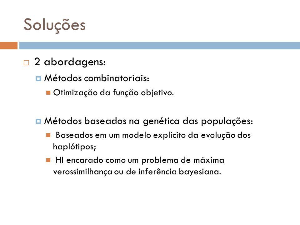 Soluções 2 abordagens: Métodos combinatoriais: Otimização da função objetivo. Métodos baseados na genética das populações: Baseados em um modelo explí