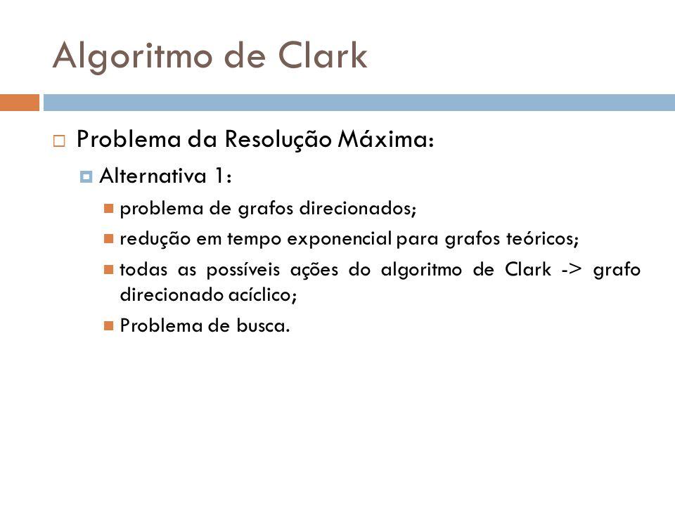 Algoritmo de Clark Problema da Resolução Máxima: Alternativa 1: problema de grafos direcionados; redução em tempo exponencial para grafos teóricos; to