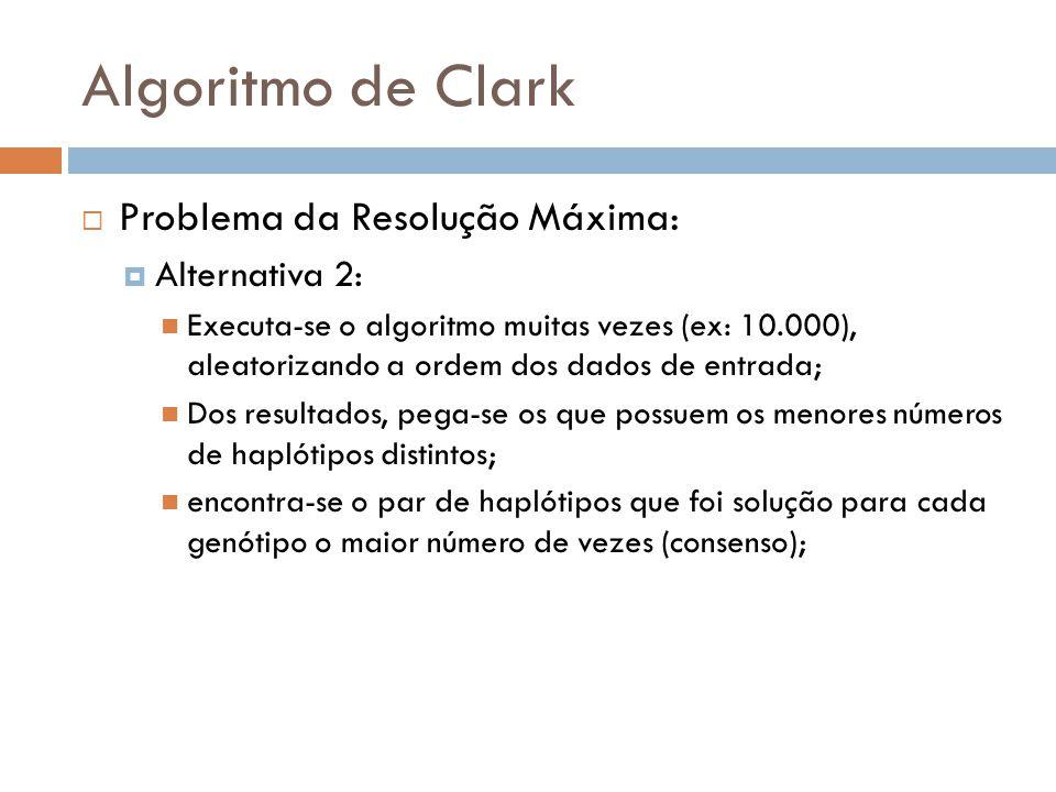 Algoritmo de Clark Problema da Resolução Máxima: Alternativa 2: Executa-se o algoritmo muitas vezes (ex: 10.000), aleatorizando a ordem dos dados de e