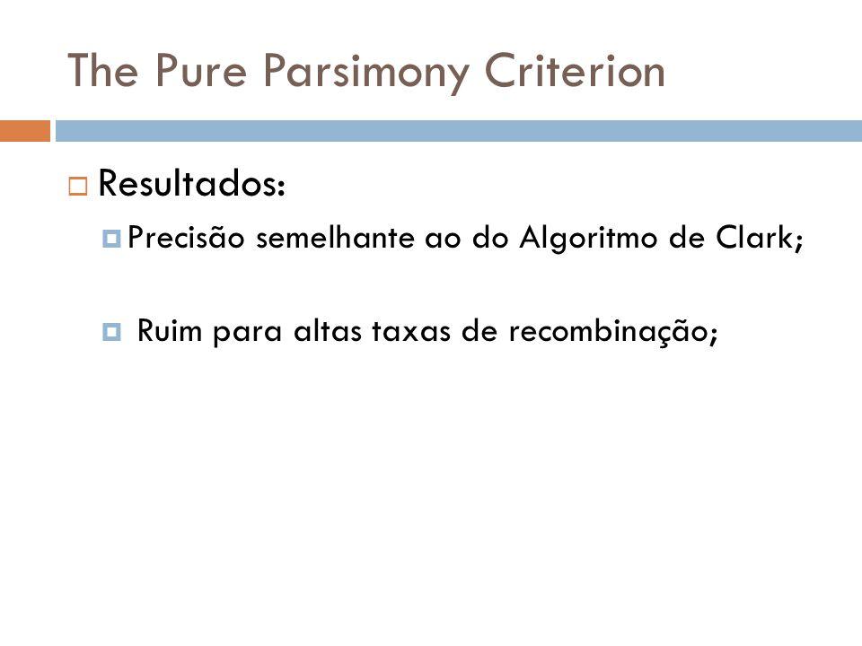 The Pure Parsimony Criterion Resultados: Precisão semelhante ao do Algoritmo de Clark; Ruim para altas taxas de recombinação;