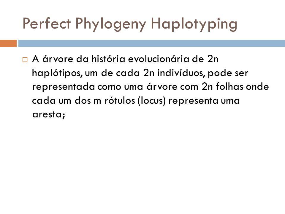 Perfect Phylogeny Haplotyping A árvore da história evolucionária de 2n haplótipos, um de cada 2n indivíduos, pode ser representada como uma árvore com