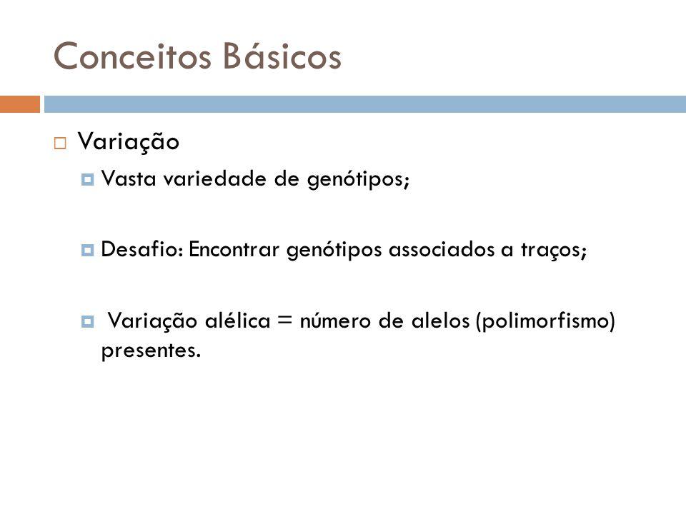 Conceitos Básicos Variação Vasta variedade de genótipos; Desafio: Encontrar genótipos associados a traços; Variação alélica = número de alelos (polimo