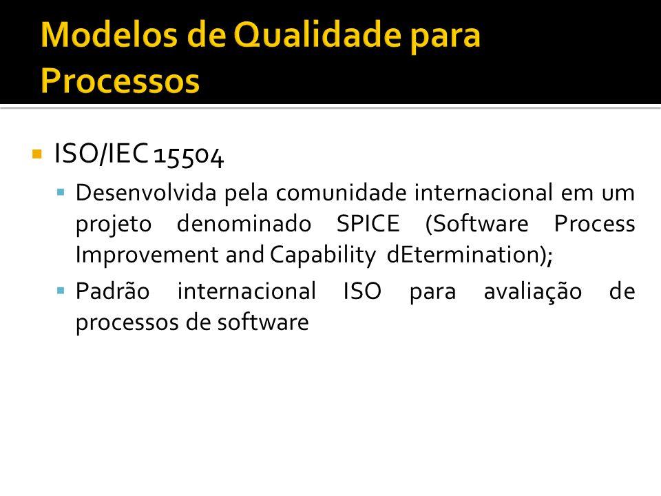 ISO/IEC 15504 Desenvolvida pela comunidade internacional em um projeto denominado SPICE (Software Process Improvement and Capability dEtermination); Padrão internacional ISO para avaliação de processos de software